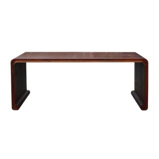 Oriental Chinese Huali Rosewood Brown Scroll Leg Kang Coffee Table For Sale