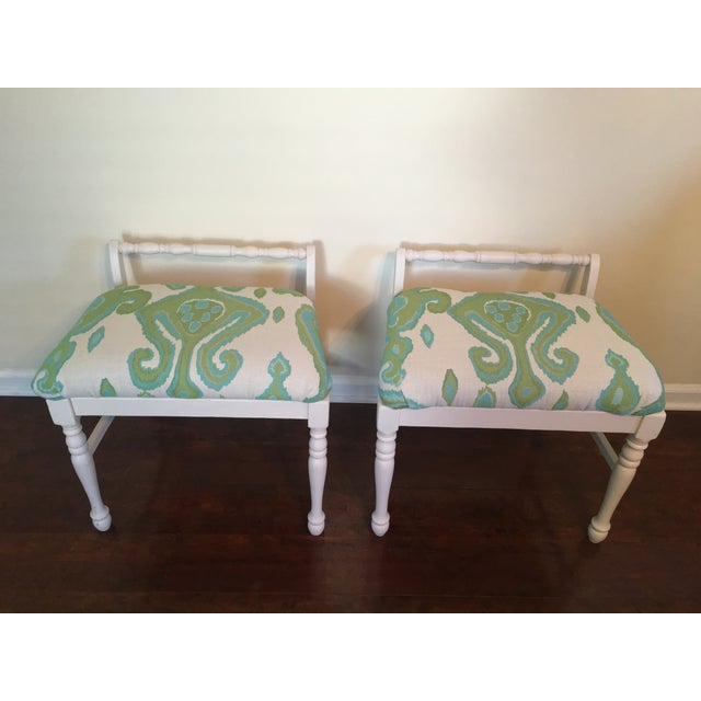 Ikat Upholstered Bench Ottomans - A Pair - Image 4 of 4