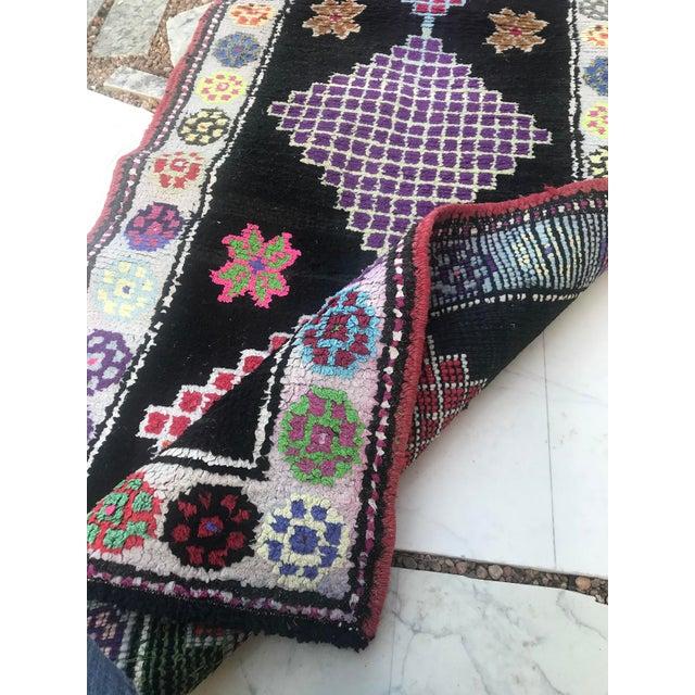 Black Hand Made Vintage Nomadic Boho Style Turkish Runner- 2′4″ × 10′11″ For Sale - Image 8 of 9