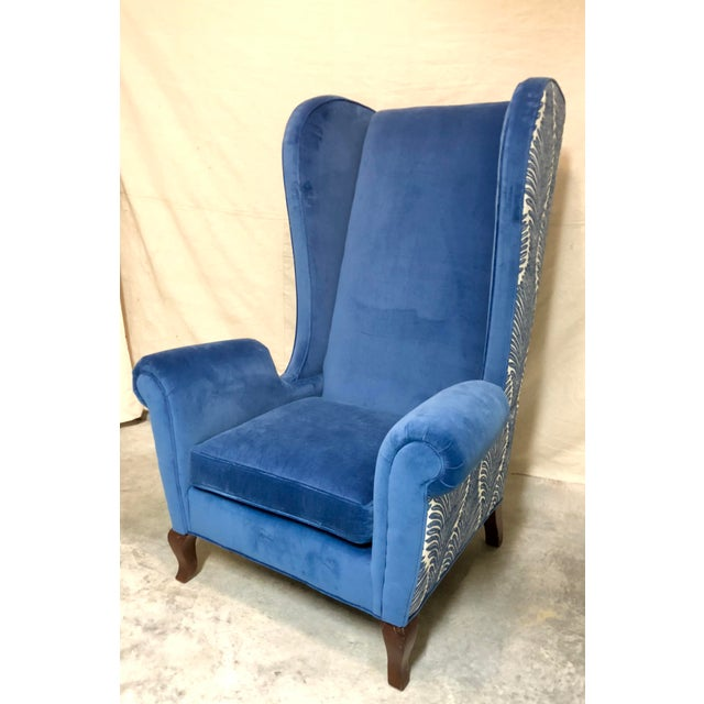 Blue Wingback Chairs - A Pair For Sale In Dallas - Image 6 of 8