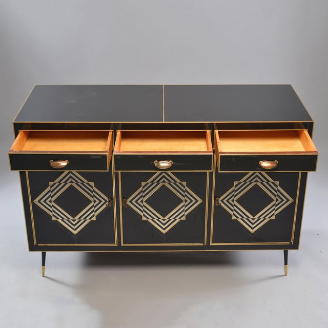 Op Art Murano Black and White Glass Clad Chest of Drawers With Brass Hardware For Sale - Image 9 of 13