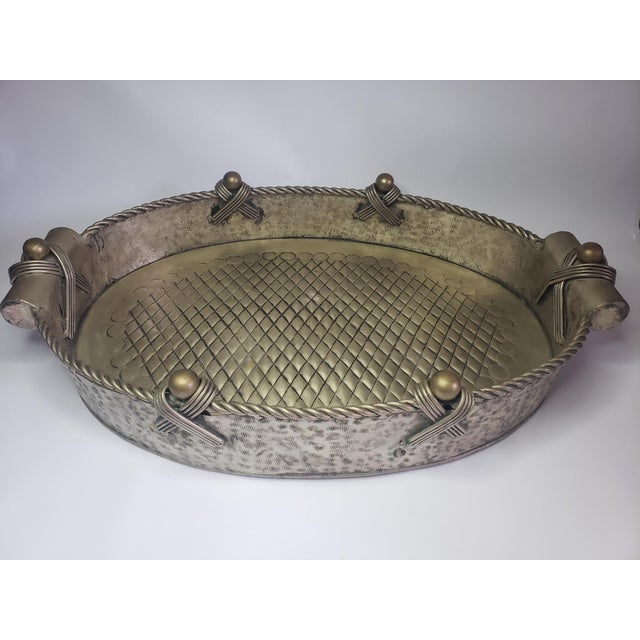 Vintage John Richard Collection Silver Plate Hammered Serving Tray For Sale - Image 4 of 13