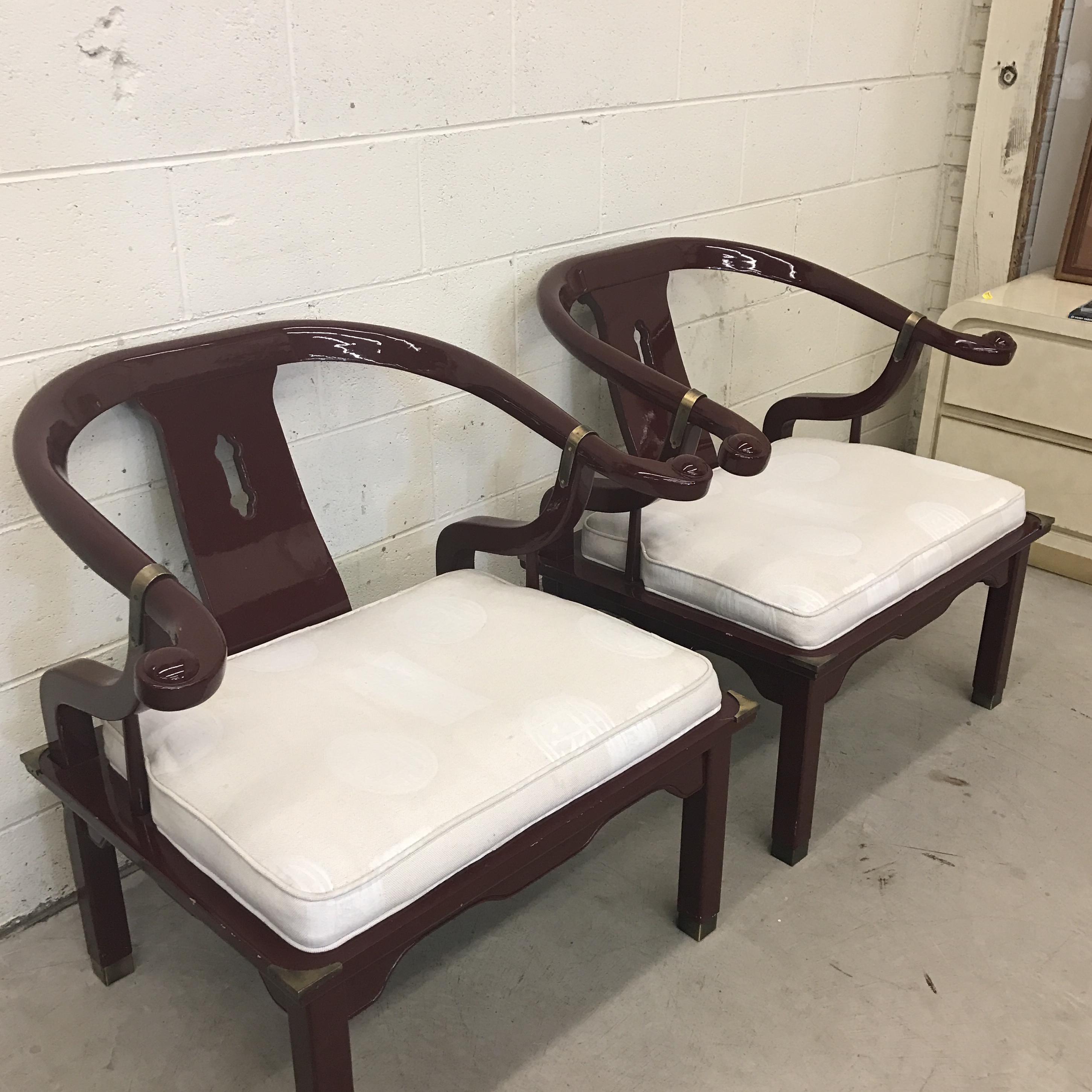 laquered furniture antique century furniture asian ming horseshoe back lacquered chairs pair for sale image chairish