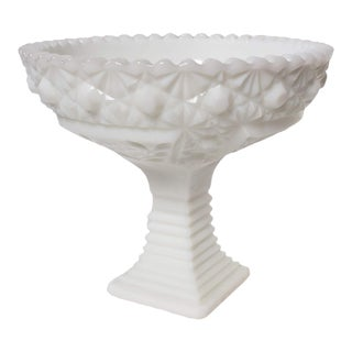 Fenton Button Milk Glass Footed Bowl For Sale