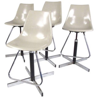 Set of Mid-Century Swivel Adjustable Barstools For Sale