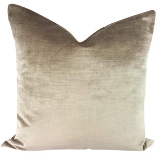 "Contemporary Pindler Firenze in the Color Travertine Velvet Pillow Cover - 20"" X 20"" For Sale"