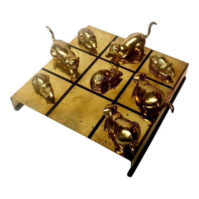 Brass Cat & Mouse Tic-Tac-Toe Game For Sale