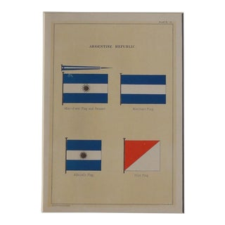 1882 Nautical Flags of Argentina Chromolithograph For Sale