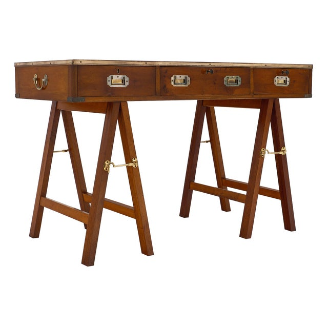 Campaign Style Vintage Writing Desk For Sale - Image 4 of 10