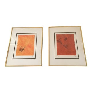 """""""Butterfly"""" Orange & Red Serigraphs - A Pair"""
