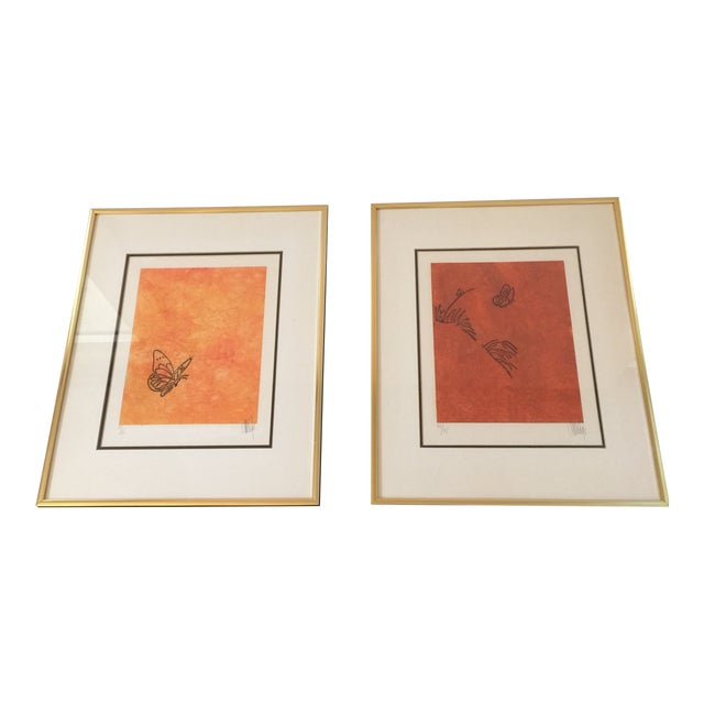 """""""Butterfly"""" Orange & Red Serigraphs - A Pair For Sale"""