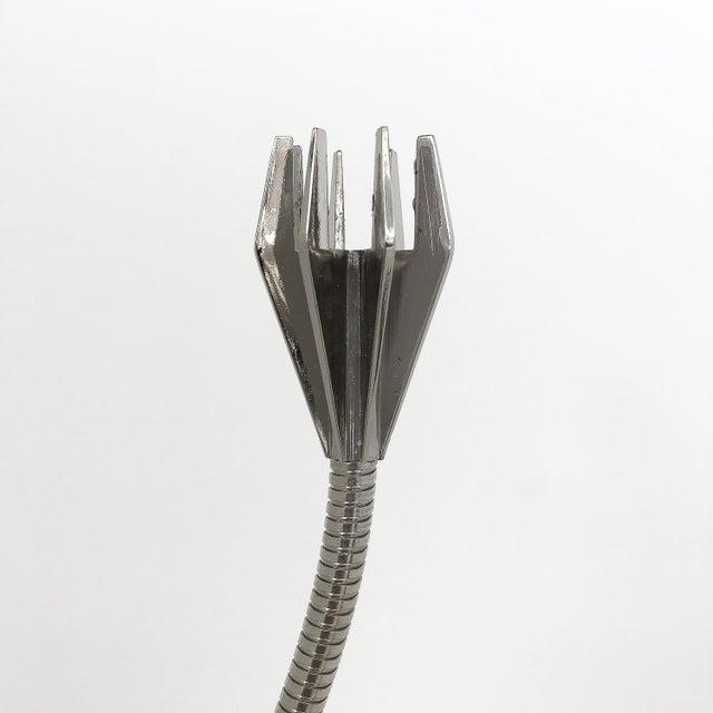 Silver Chrome Flexible Gooseneck Sculptural Candlestick For Sale - Image 8 of 9