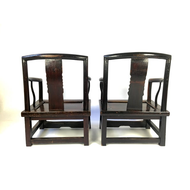 Antique Rosewood Chinese Official's Chairs - Pair For Sale - Image 5 of 9