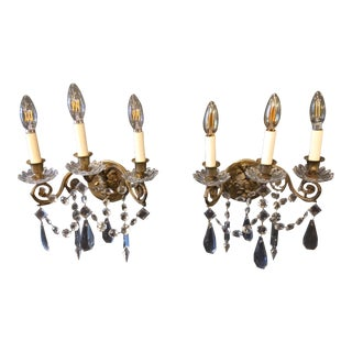 Napoleon III Bronze and Crystal Sconces - A Pair For Sale