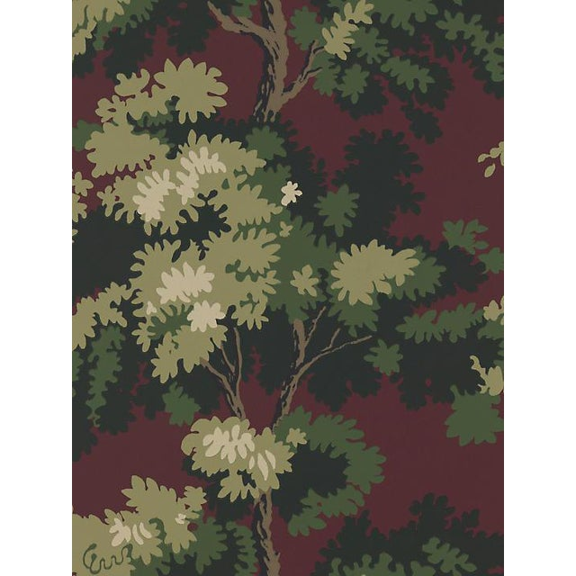 Sample, Scalamandre Raphael, Dark Red/Green/Lh Wallpaper For Sale