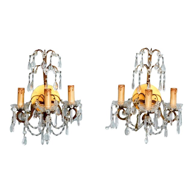 Pair of French Three-Arm Crystal and Brass Wall Sconces - Image 1 of 6