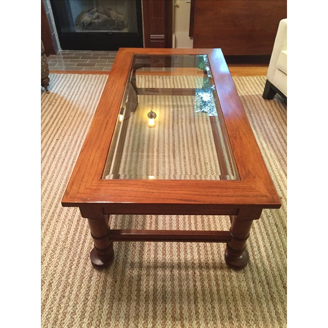Traditional Wood & Glass Coffee Table - Image 4 of 8