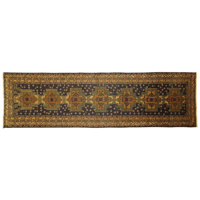 "Navy & Tan Balouch Runner Rug - 2'11"" x 9'9"" - Image 1 of 10"