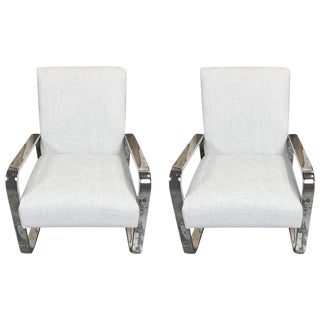 Pair of Mid-Century Upholstered Club Chairs with Polished Chrome Frame