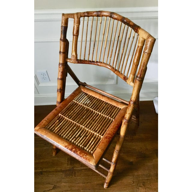 Brown Vintage Tortoise Bamboo Folding Chair For Sale - Image 8 of 9