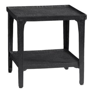 Black Matte Hammered Metal Side Table For Sale