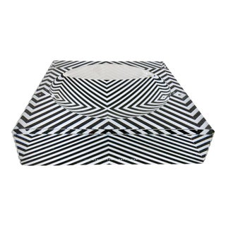 "Alexandra Von Furstenberg Contemporary Lucite ""Zebra"" Square & Round Bowl For Sale"
