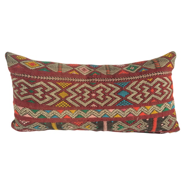 Burgundy Turkish Kilim Pillow - Image 1 of 11
