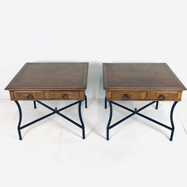 Tomlinson Stunning Pair of Tomlinson Inlaid Walnut Midcentury End Lamp Tables W Ring Pulls For Sale - Image 4 of 12