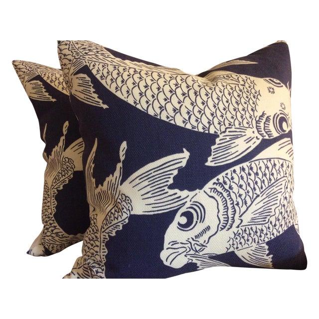 """Manuel Canovas """"Calypso"""" Navy Pillows - A Pair - Image 1 of 4"""