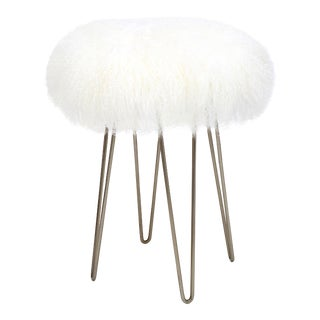 Curly Hairpin Counter Stool Bright White For Sale