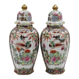 Antique Famille Rose Birds of Paradise Porcelain Ginger Jars - a Pair For Sale