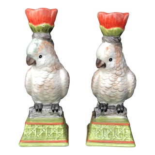 Vintage Cockatoo Parrot Bamboo Chinoiserie Candle Holders Pair