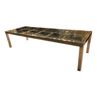 Mastercraft 10' Brass & Glass Extendable Parsons Dining Table For Sale