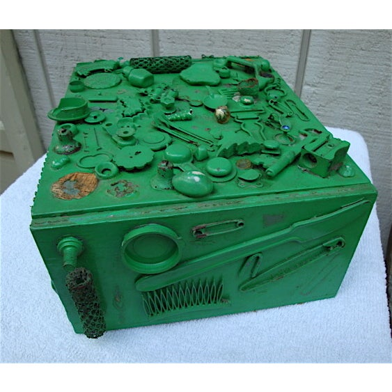 This handmade wooden box is a piece of folk art in its own right, but also great for storage and organization of small...