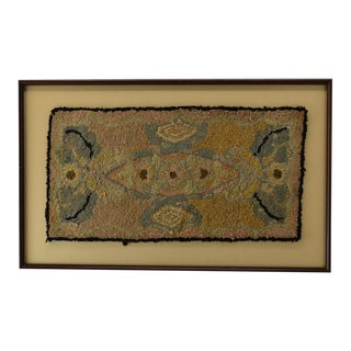 Antique Hooked Rug of a Fish For Sale