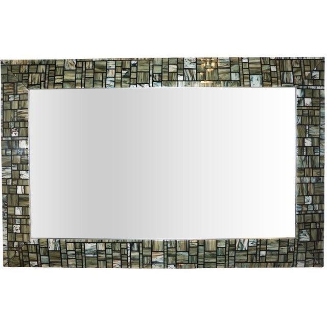 Modern Italian Green, Cream, Caramel, White and Black Murano Glass Mosaic Mirror For Sale - Image 9 of 9