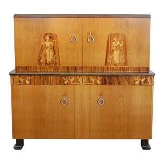 Swedish Art Deco Intarsia Storage Bar Cabinet For Sale