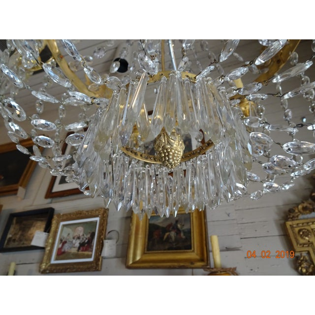 Brass 19th Century French Empire Crystal Chandelier For Sale - Image 8 of 13