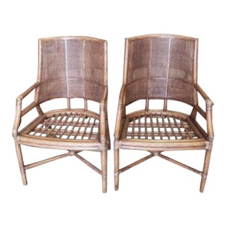 McGuire Rattan Cane Lounge Arm Chairs - a Pair