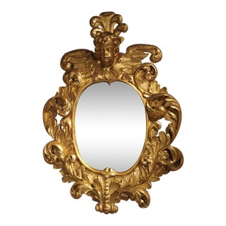 Large 17th Century Giltwood Baroque Mirror from Italy For Sale