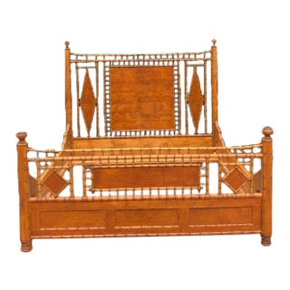 1960s Chinoiserie Faux Bamboo King Bedframe For Sale