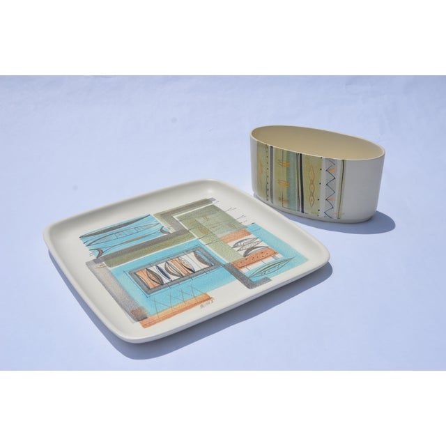 1950s Sascha Brastoff Ceramic Tray and Planter - a Pair For Sale - Image 11 of 13