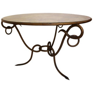 Coffee Table by René Drouet, Mirror and Iron, Circa 1940 For Sale