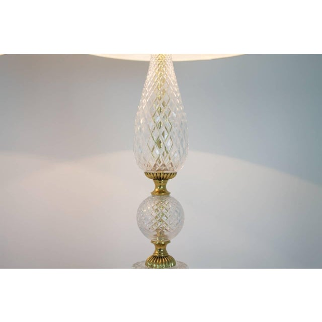Nice pair of air of elegant textured glass and brass table lamps without shades. Very good original condition. Worldwide...