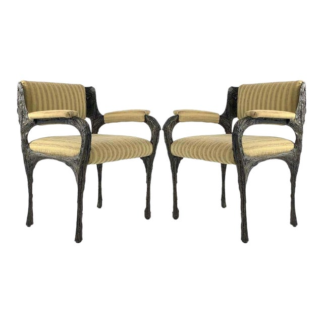 Paul Evans Midcentury Brutalist Sculpted Bronze Patinated Pe105 Chairs - a Pair For Sale