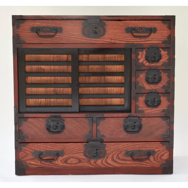 Metal Antique Japanese Hardwood Choba Tansu For Sale - Image 7 of 7