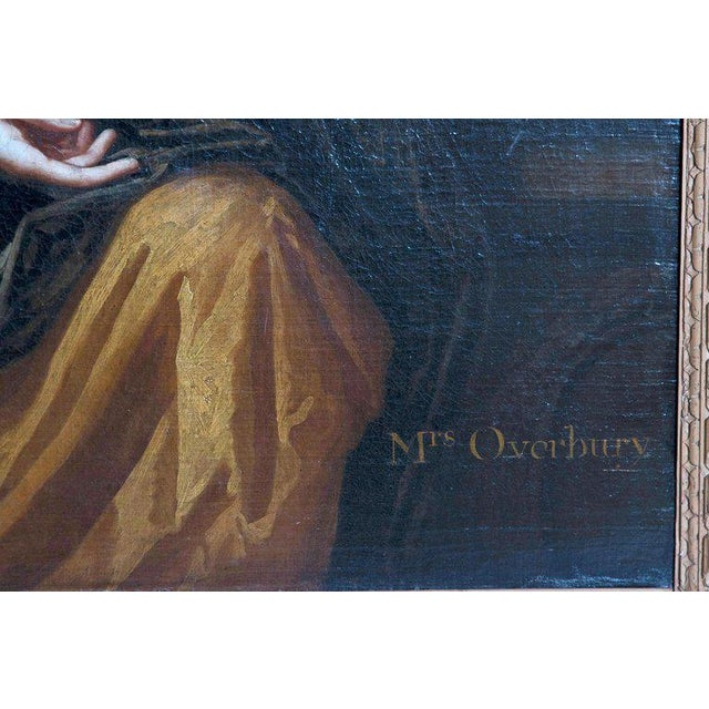 18th Century English Portrait of Mrs. Overbury Circle of Sir Godfrey Kneller For Sale - Image 10 of 13