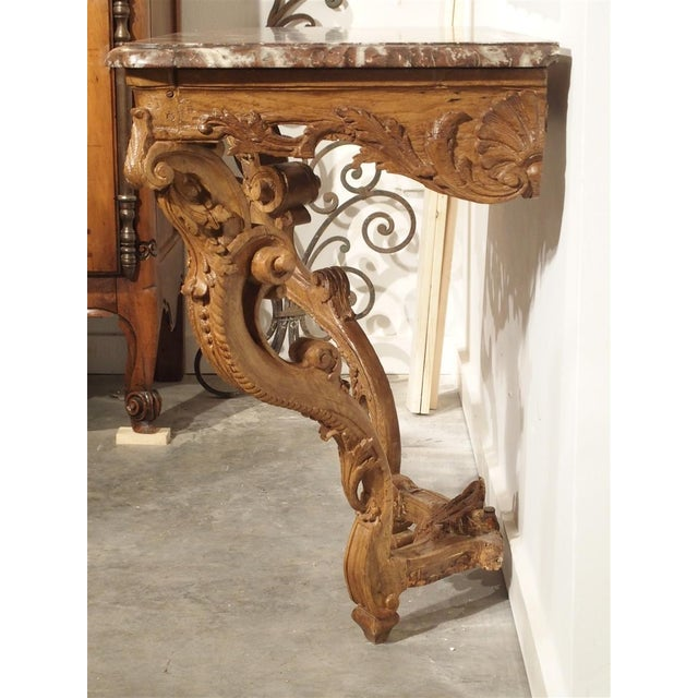 White Early 18th Century Oak Regence Console With Rouge Marble Top For Sale - Image 8 of 13
