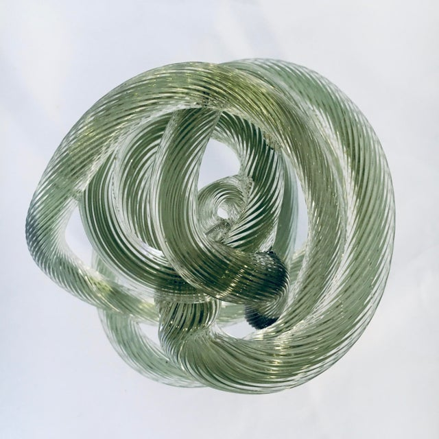 Zanetti Style Italian Sage Green Murano Glass Knot For Sale In Baltimore - Image 6 of 7
