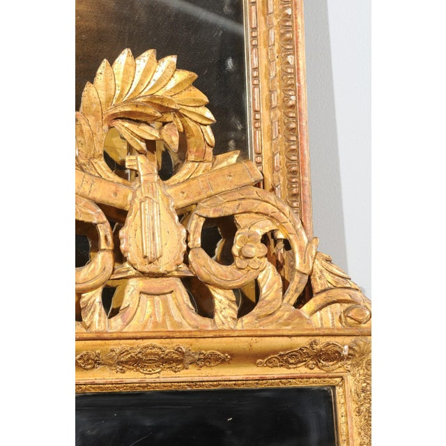 Gold French Louis XV Style Giltwood Mirror with Hand Carved Liberal Arts Symbols For Sale - Image 8 of 10